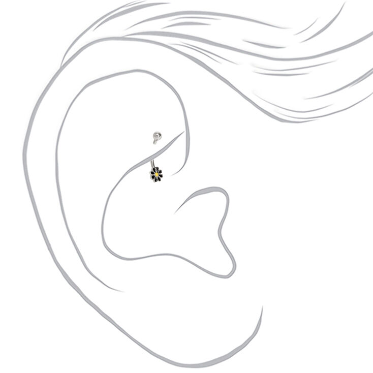 Silver 16G Dark Flower Rook Earring,