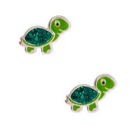Clous d'oreilles tortue décorée en argent - Vert,