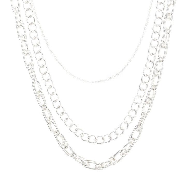 Silver Chain Multi Strand Necklace,