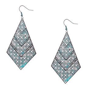 "3"" Rustic Patina Filigree Drop Earrings - Turquoise,"
