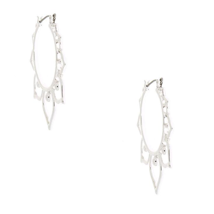 Silver 30MM Leaf Hoop Earrings,