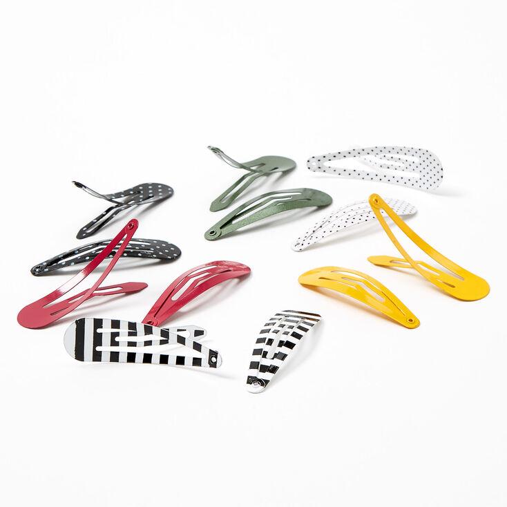 Polka Dot Striped Snap Hair Clips - 12 Pack,