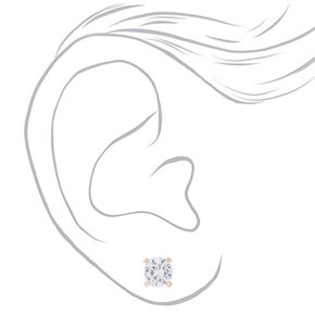 Rose Gold Cubic Zirconia Round Stud Earrings - 4MM,