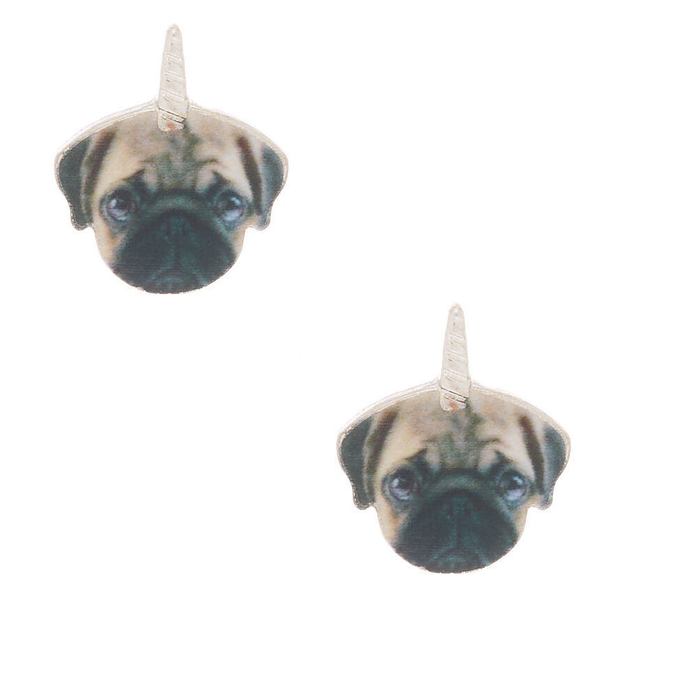 One Pair Floral Pug Dog Glass Stud Earrings ❇️