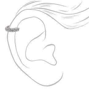 Silver 18G Paved Crystal Cartilage Hoop Earring,