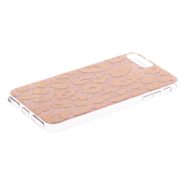 Rose Gold Glitter Leopard Ring Holder Phone Case - Fits iPhone 6/7/8/SE,