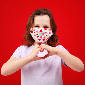 Cotton Scatter Print Hearts White Face Mask - Child Medium/Large,