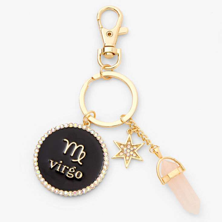 Gold Healing Crystal Zodiac Keyring - Virgo,