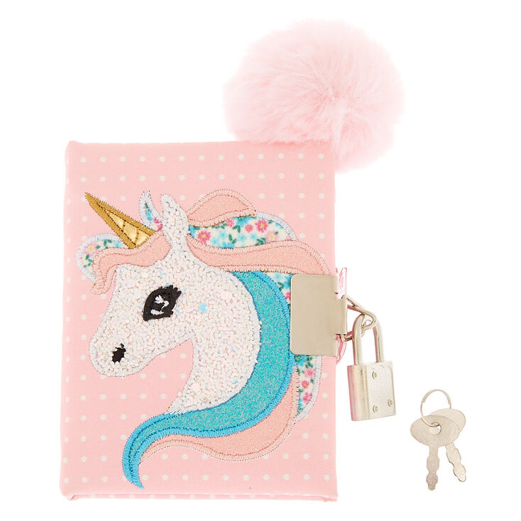 Claire's Club Unicorn Lock Diary - Pink,
