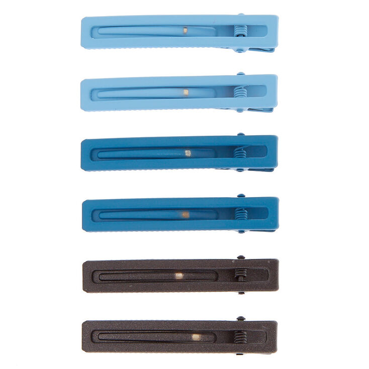 Rectangle Matte Hair Clips - Blue, 6 Pack,