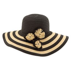 7cbcb81797e2e Striped Floppy Hat - Black