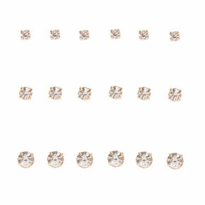 Gold Graduated Crystal Stud Earrings - 9 Pack,