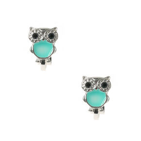 Cute Silver Turquoise Owl Clip On Earrings