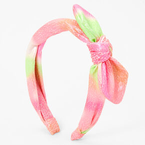 Pink & Green Cracked Knotted Bow Headband,
