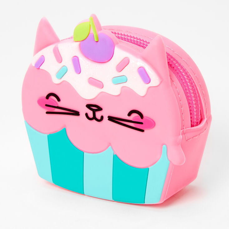 Porte-monnaie en silicone cupcake chat - Rose,