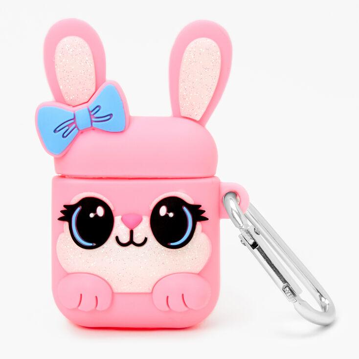 Étui pour écouteurs en silicone lapine coquette rose - Compatible avec les AirPods® de Apple,