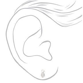 Clous d'oreilles ananas couleur argentée,