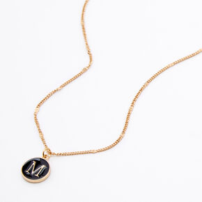 Gold Enamel Initial Pendant Necklace - Black, M,