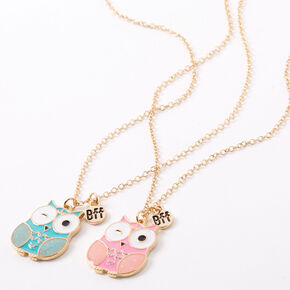 Best Friends Mint & Pink Owl Pendant Necklaces - 2 Pack,