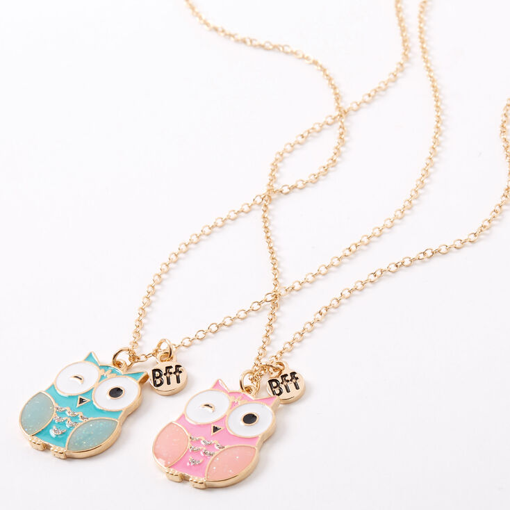 Best Friends Mint & Pink Owl Pendant Necklaces - 2 Pack,