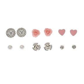 Pink Rose Stud Earrings - 9 Pack,