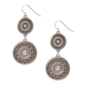 "Silver 1.5"" Double Medallion Drop Earrings,"
