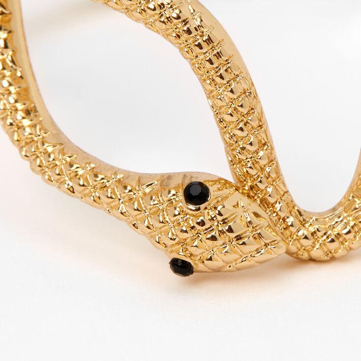 Gold Textured Snake Cuff Bracelet,