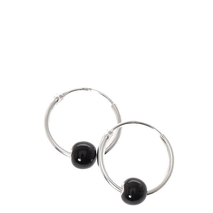 Sterling Silver Black Ball Hoop Earrings