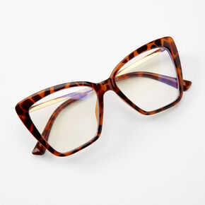 Solar Blue Light Reducing Tortoiseshell Rectangle Clear Lens Frames - Brown,