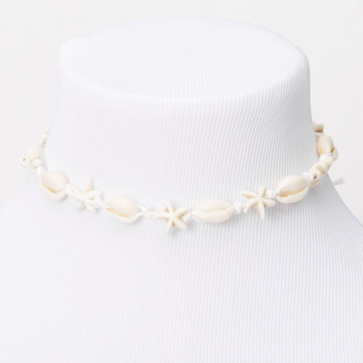 Cowrie Star Seashell Choker Necklace,