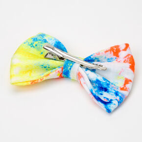 Tie Dye Neon Hair Bow Clip - Yellow/Orange,