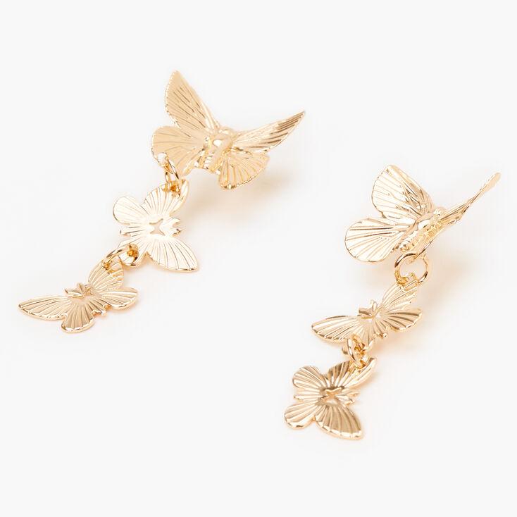 """Gold 1.5"""" Butterfly Drop Earrings,"""