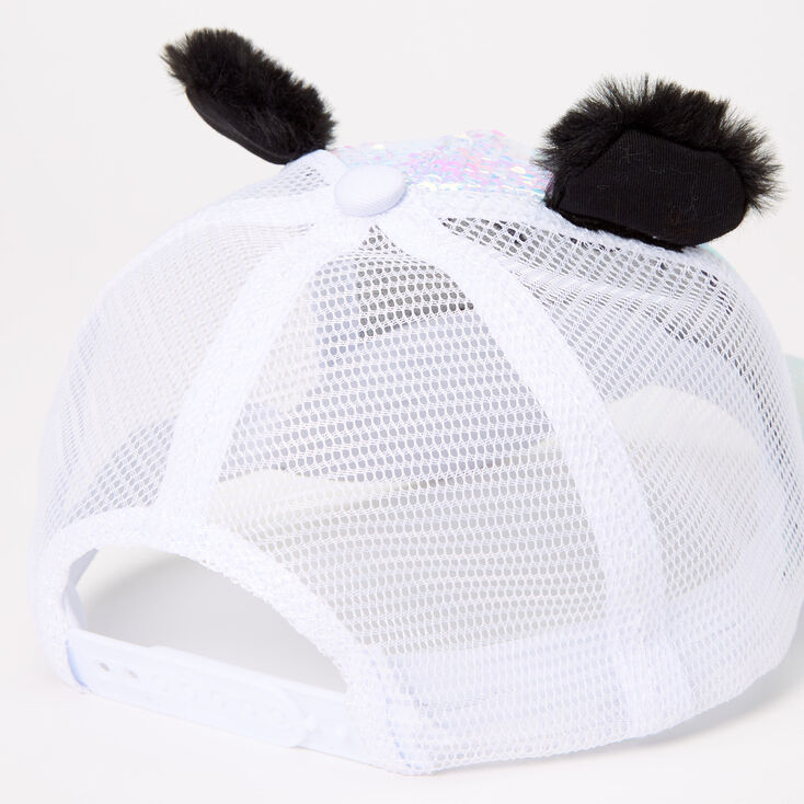 Paige The Panda Holographic Sequin Trucker Hat - White,