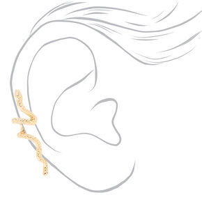 Manchette d'oreille serpent couleur dorée,