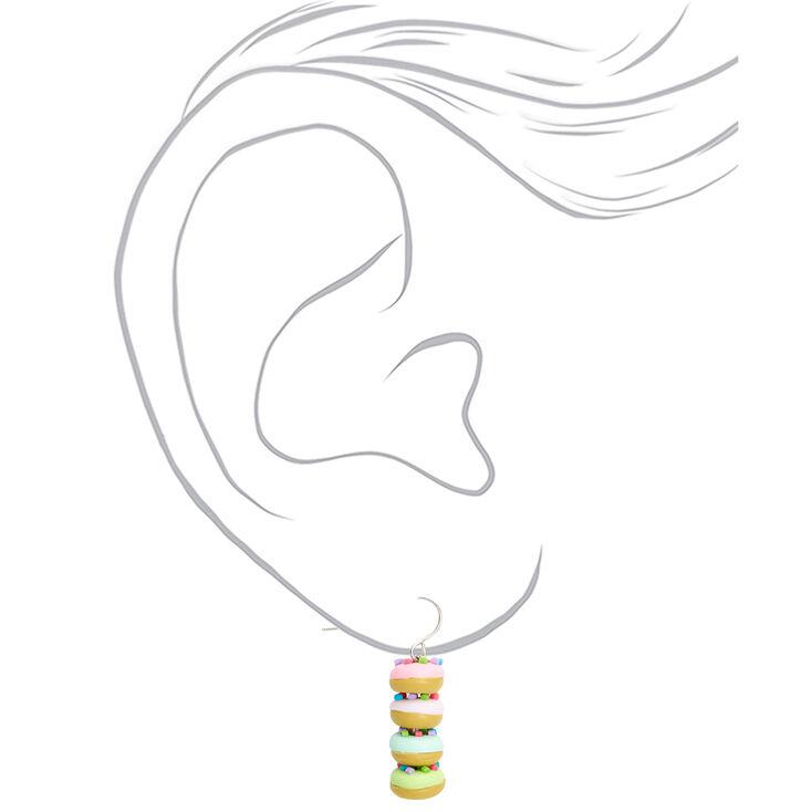 """Silver 1"""" Rainbow Donut Drop Earrings,"""