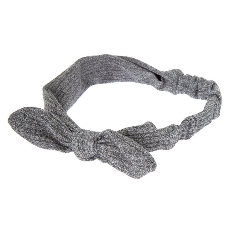 Ribbed Knotted Bow Headwrap - Gray,