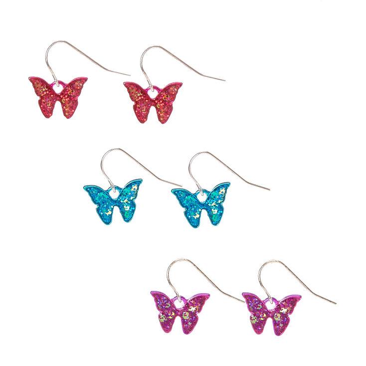Pendantes papillons pailletés,