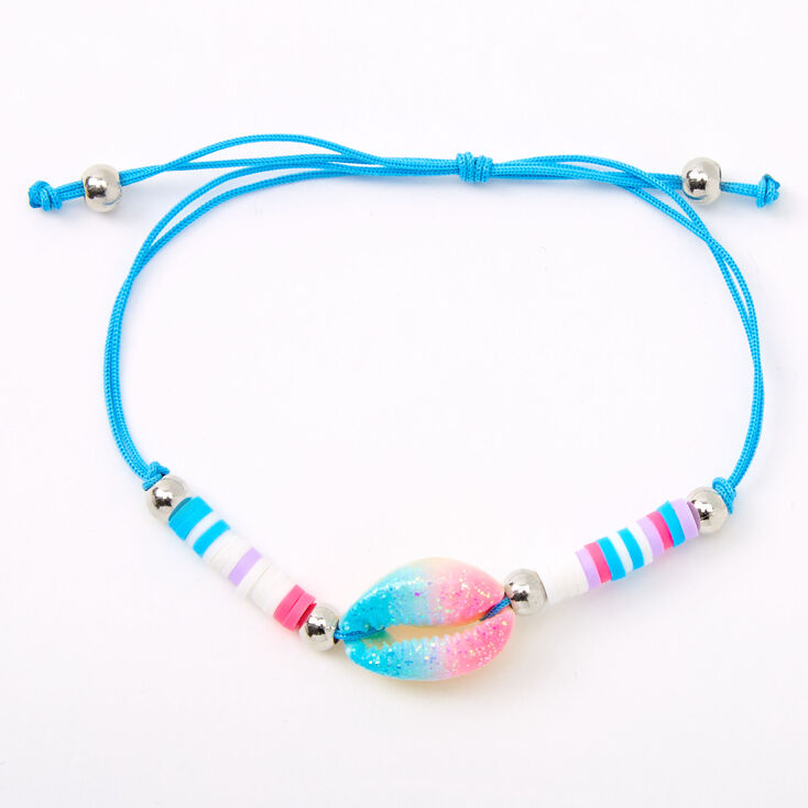Blue, Pink, & Purple Cowrie Shell Adjustable Bracelet,