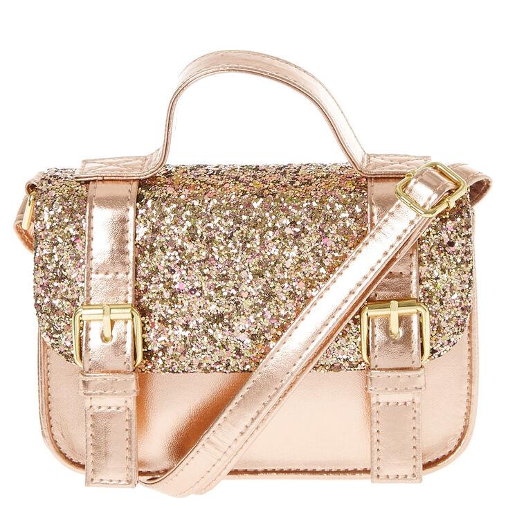 Kids Rose Gold Glitter Crossbody Satchel Bag