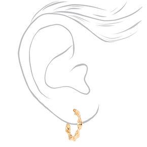 Gold 20MM Twisted Hoop Earrings,