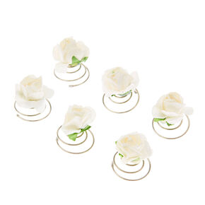 Paper Rose Hair Spinners - White,