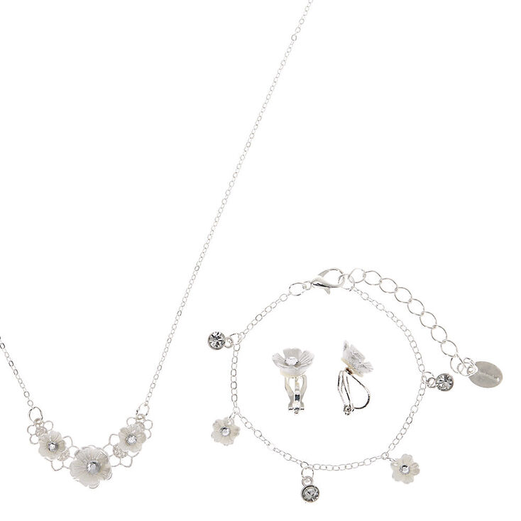 Claire's Club Silver Floral Jewelry Set - 3 Pack,
