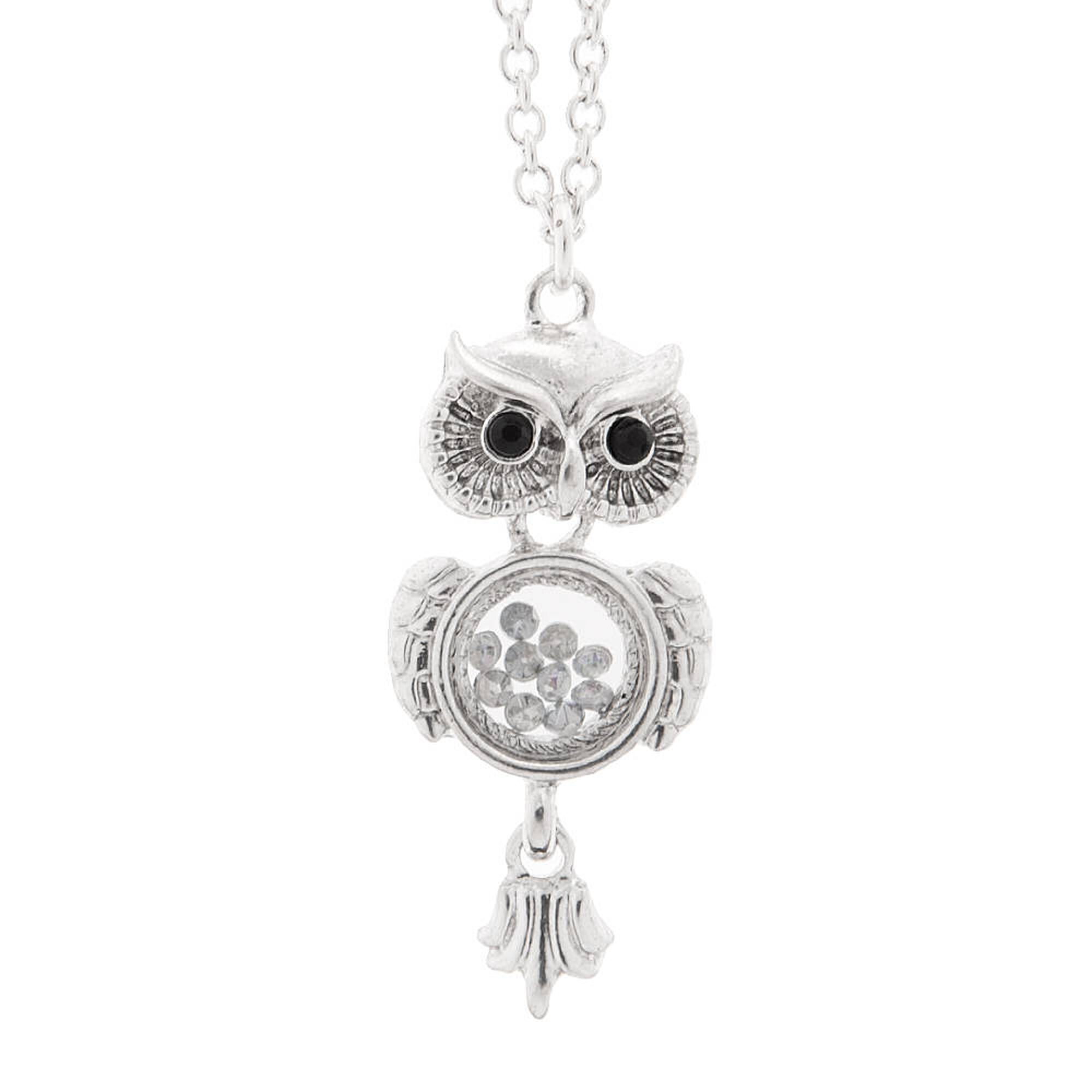Silver owl with floating charm belly pendant necklace claires us silver owl with floating charm belly pendant necklace mozeypictures Images