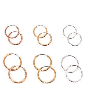 Mixed Metal 12MM Smooth & Textured Hoop Earrings - 6 Pack,