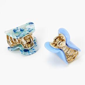 Mini Marble Hair Claws - Blue, 2 Pack,