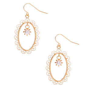 "Gold 1.5"" Filigree Frame Drop Earrings,"