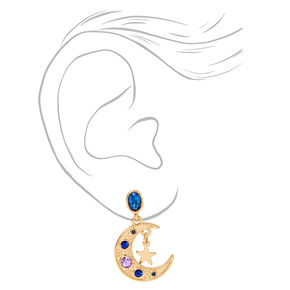 "Gold 1"" Crescent Moon Star Drop Earrings - Blue,"