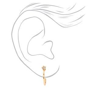Gold 15MM Crystal Post Hoop Earrings,
