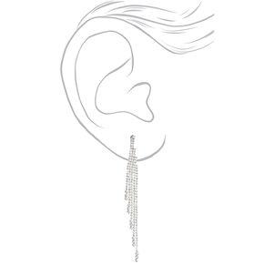 """Silver Rhinestone 4"""" Fringe Drop Earrings,"""