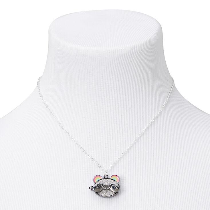 Silver Rainbow Panda Locket Necklace,